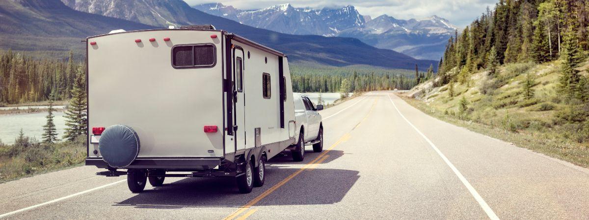 Caravan being towed on the road