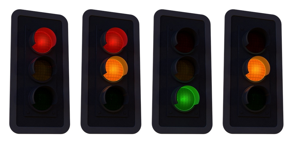 traffic lights showing the complete lighting sequence