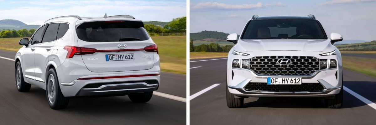 side by side picture of Hyundai Santa Fe showing front and rear aspect