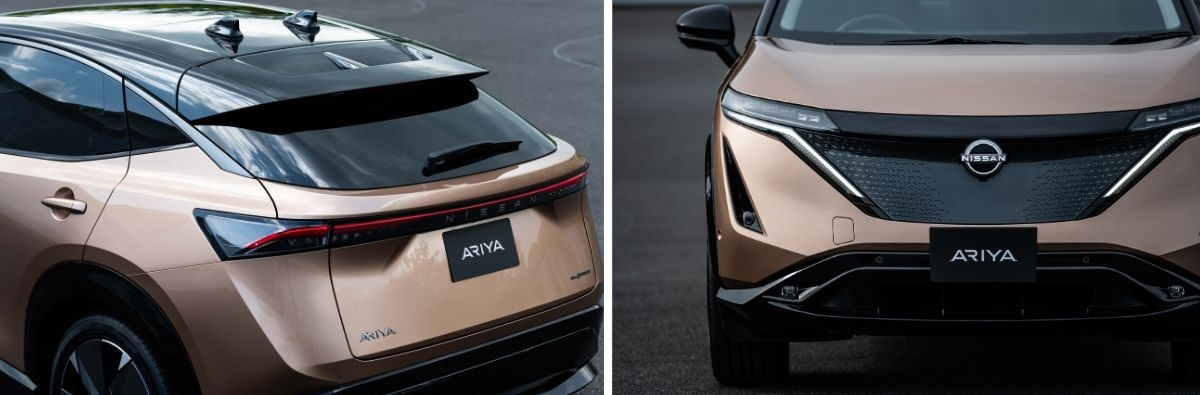Nissan Ariya front and rear aspects