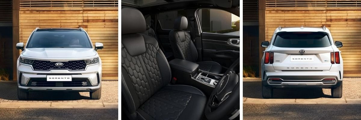 new Kia Sorento front, interior and rear aspects
