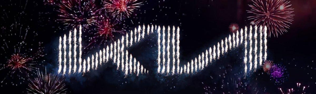 new kia logo lights up the sky